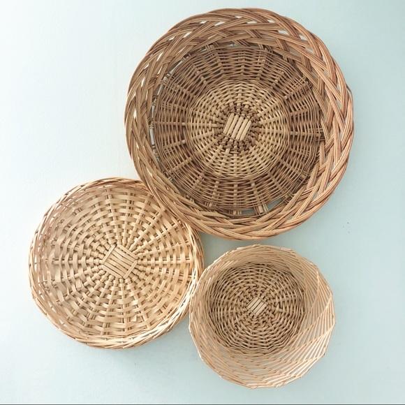 Vintage Wicker Wall Basket Set Boho Home Decor